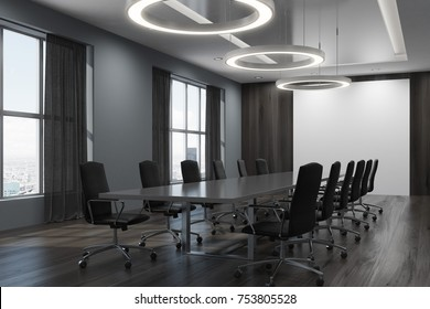 Black meeting room corner with large windows, black curtains and black chairs standing near a long table. Side view. 3d rendering mock up