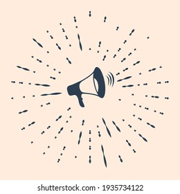 Black Megaphone icon isolated on beige background. Abstract circle random dots