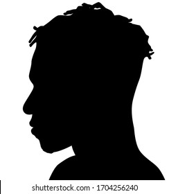 Black Men African American, African profile picture silhouette. Man from the side with afroharren. Dreadlocks hairstyle, afro hair and beard.