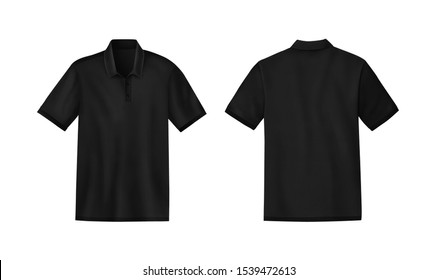 Black mens t-shirt template mockup, Front and back, Realistic illustration isolated on white background.