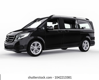 Black Mercedes-Benz V-class on a white background. Three-dimensional raster illustration. 3d rendering.