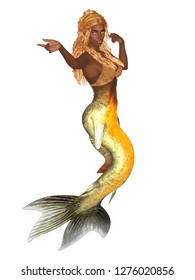Black mermaid with golden fishtail and long curly hair isolated on white. 3D rendering.