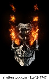 Black metal demon skull - eyes on fire - 3D Illustration