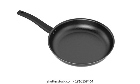 black metal frying pan with plastic black handle on white background isolate 3d rendering