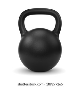 Black metal gym weight kettle bell isolated on white background