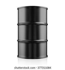 Black Metal Oil Barrel on White Background, Industrial Concept.