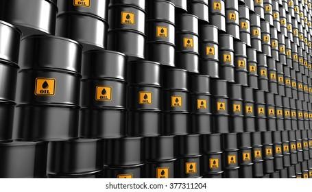 Black Metal Oil Barrels Background, Industrial Concept.