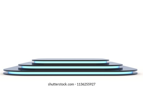 Black metall pedestal with empty stage. Space to place your text or object. 3d render. Blue neon.