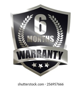 black metallic 6 month warranty shield sticker, badge, icon, stamp, label, banner, sign isolated on white