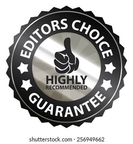 black metallic editors choice guarantee highly recommended sticker, sign, badge, icon, label isolated on white