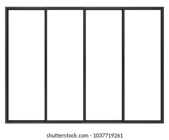 black metallic window isolated on white background. 3d illustration