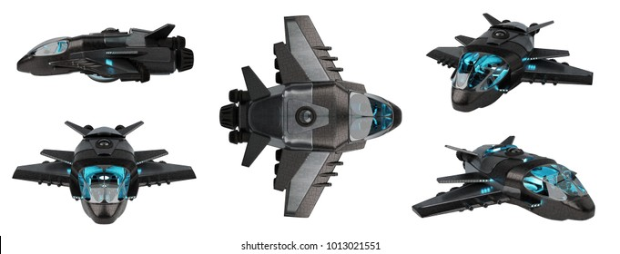 Black mettalic futuristic spacecraft collection isolated on white background 3D rendering