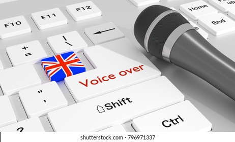 Black microphone on white keyboard with british flag key voice over concept 3D illustration