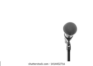 Black microphone with stand isolated over white background. Front view. 3d render illustration.