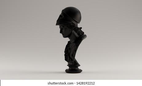 Black Minerva Bust Sculpture Left View 3d illustration 3d render