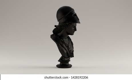 Black Minerva Bust Sculpture Right View 3d illustration 3d render