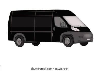 black minibus on a white background. Isolated Minibus. icon