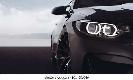 Black modern car headlights with led technology - close up view (with overlay) - 3d illustration