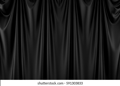 Black modern curtain fabric background geometry abstract background 3D Rendering.