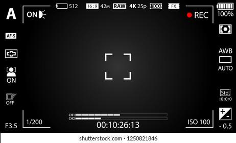 Black modern digital camera viewfinder template with vignetting effect. Black viewfinder mirrorless, DSLR or cameraphone camera recording