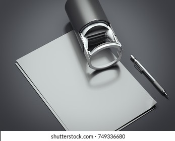 Black modern self inking name stamp with a blank sheet of paper. 3d rendering
