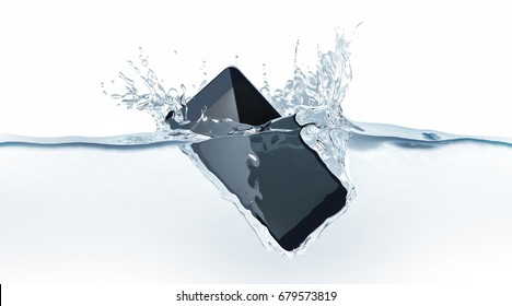 Black modern smartphone fall in water, 3d rendering. Mobile smart phone with touch screen mockup sink under liquid surface. Electronic waterproof cellphone falling and dive with splashes.