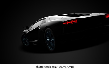 Black modern sport car: 3D illustration