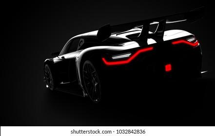 Black modern sport car: 3D illustration