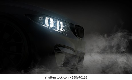 Black modern sports car headlights (with overlay) - 3d illustration