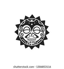 black monochrome ink hand drawn native polynesian folk art sun symbol mythological circle Tiki face illustration isolated white background