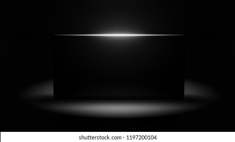 black monolith 3d illustration with copy space on dark background
