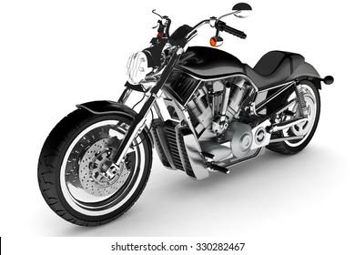 Black motorbike isolated.