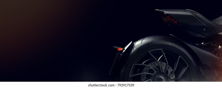 Black motorcycle in the studio. 3d render and illustration.