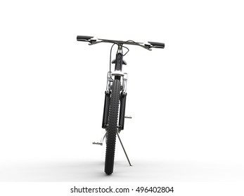 Black mountain bike leaning on sidestand - front view - 3D Illustration
