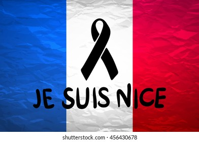 black mourning ribbon on a flag of France art