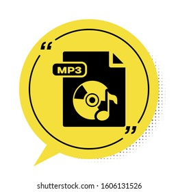 Black MP3 file document. Download mp3 button icon isolated on white background. Mp3 music format sign. MP3 file symbol. Yellow speech bubble symbol.