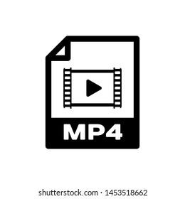 Black MP4 file document icon. Download mp4 button icon isolated. MP4 file symbol