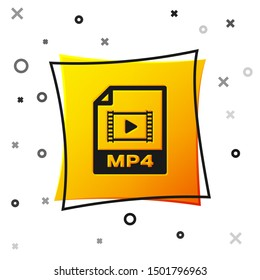Black MP4 file document icon. Download mp4 button icon isolated on white background. MP4 file symbol. Yellow square button