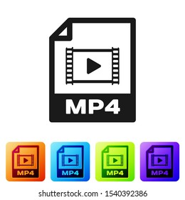 Black MP4 file document icon. Download mp4 button icon isolated on white background. MP4 file symbol. Set icon in color square buttons