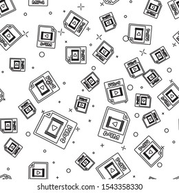 Black MP4 file document icon. Download mp4 button icon isolated seamless pattern on white background. MP4 file symbol