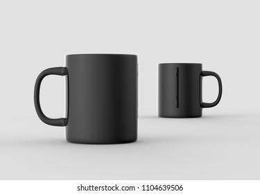Black mug mock up isolated on light gray background. 3D illustration