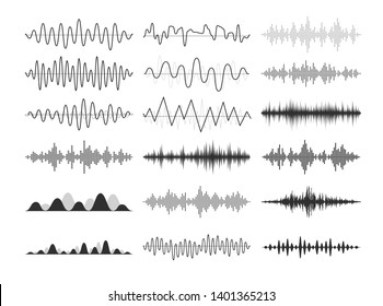 Black musical sound waves. Audio frequencies, musical impulses, electronic radio signals, radio wave curves.