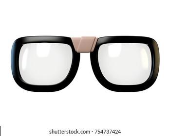 Black nerd eyeglasses design element, glasses isolated on white background, 3d rendering