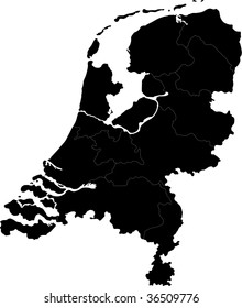 Black Netherlands map with region borders