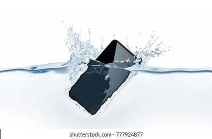 Black new smartphone mockup fall in water, 3d rendering. Mobile smart phone with touch screen mockup sinks under liquid surface. Electronic waterproof cellphone falling and dive with splashes.