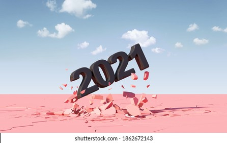 Black New Year 2021 Breaking Through from Pink Ground. 3D Rendering