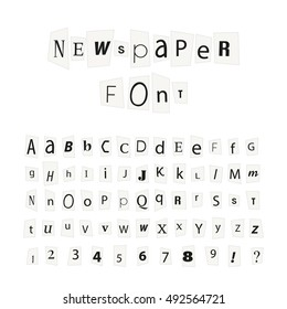Black newspaper letters font, latin alphabet signs and numbers isolated on white