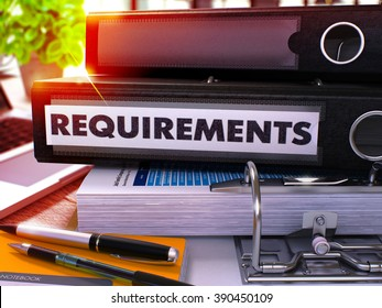 Black Office Folder with Inscription Requirements on Office Desktop with Office Supplies and Modern Laptop. Requirements Business Concept on Blurred Background. Requirements - Toned Image. 3D.
