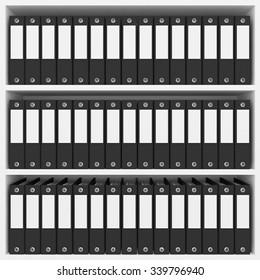 black office folders on the shelves
