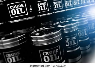Black Oil Barrels 3D Illustration. Silver Metallic Black Crude Oil Barrels Pile.